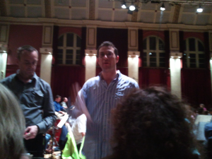 John Wilson and Christopher Dee give notes to the choir for the BBC Proms 2011