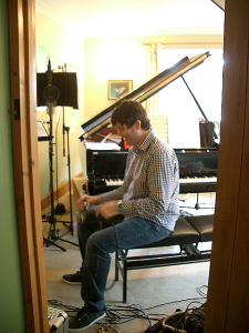 Andy Cleyndert setting up the recording room