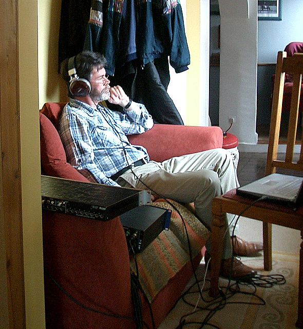 Dave Newton Listeningback to his recording with Heather Cairncross