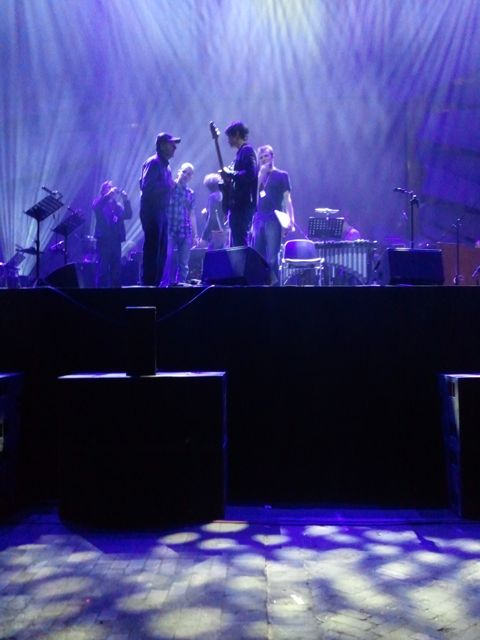 Steve Reich meets Jonny Greenwood after Electric Counterpoint soundcheck