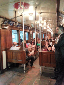 A wooden metro carriage in Buenos Aires