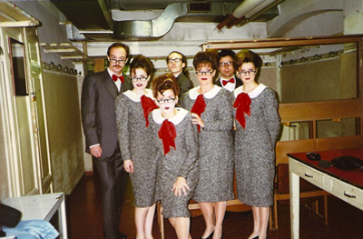 Sporting our smart costumes in our La Scala Dressing Room