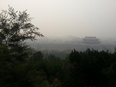 forbidden city through smog