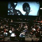 John Williams conducting to the Star Wars Screen