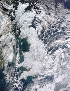satellite picture of the uk during the winter snow