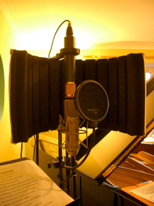 set up of the microphones for vocal recording