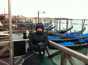 Heather Cairncross by the Gondolas in Venice