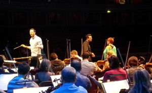 John Wilson rehearses with Seth Macfarlane and Anna-Jane Casey