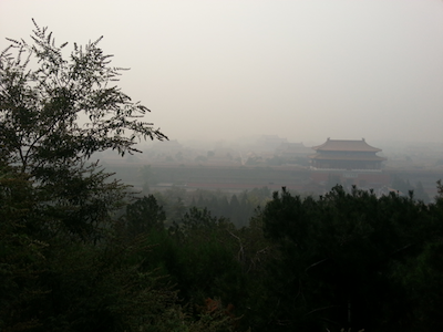 forbidden city through smog