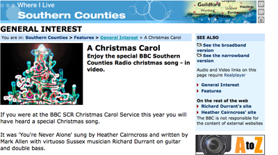 A screenshot from BBC Southern Counties about Heather Cairncross singing on their carol service.